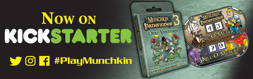 Banner link to Munchkin Pathfinder 3 on Kickstarter